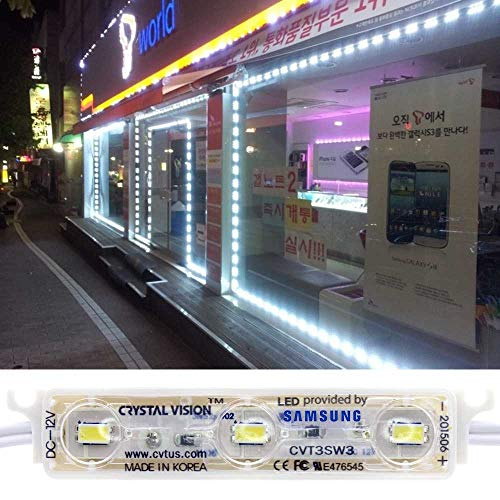 (Crystal Vision Genuine Samsung Plug and Play Super Bright StoreFront LED 50ft 120W (White) Made in Korea)