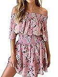 Miessial Women's Off Shoulder Floral Print Chiffon Mini Dress Smocked Short Flowy Beach Dress Pink 4/6