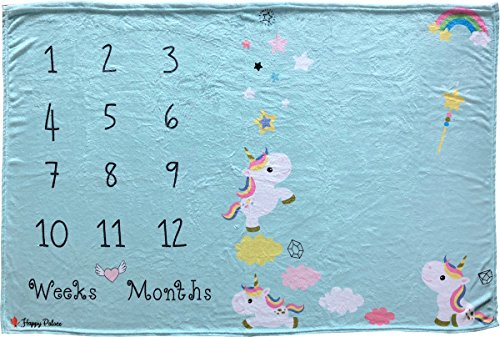 Happy Palace Baby Milestone Blanket, Weekly and Monthly Milestones (Floral Wreath and Frame Included) | Photo Backdrop Prop for Newborn Boy and Girl, for New Mom | Premium Fleece Large 60x40