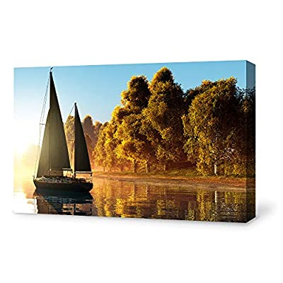 Canvas Wall Art for Living Room,Bedroom Home Artwork Paintings Sailboat Under The Sunset Ready to Hang - 12x18 inches