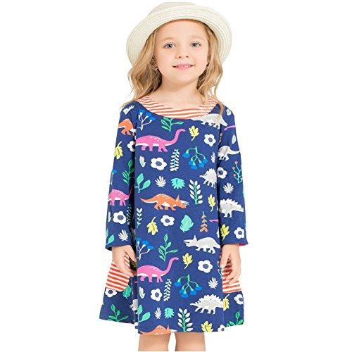 Long Sleeve Printed Tunic Dress (Bleubell Girls Navy Long Sleeve Dress Dinosaur for Toddlers Tweens 4/5Y)
