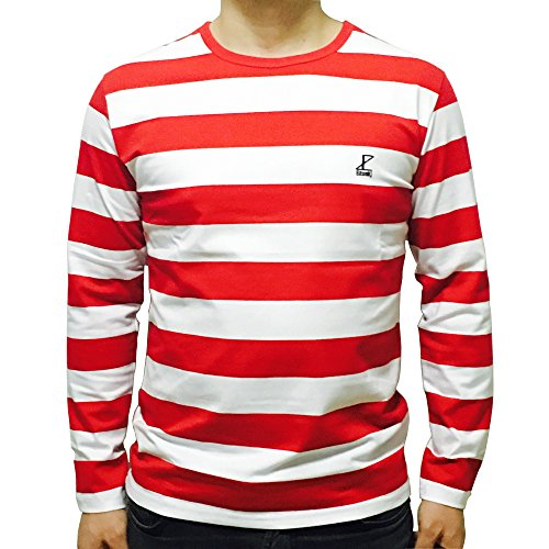 Striped Crewneck Shirt (Ezsskj Mens Boys Crew Neck Long Sleeves Red and White Striped T Shirt (Medium, Red and White))