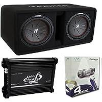 Kicker 43DCWR102 10 2400W Dual Car Subwoofers + Box + 3000W Mono Amp + Amp Kit
