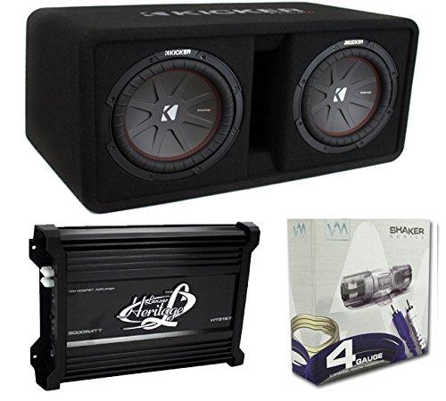Kicker 43DCWR102 10' 2400W Dual Car Subwoofers + Box + 3000W Mono Amp + Amp Kit