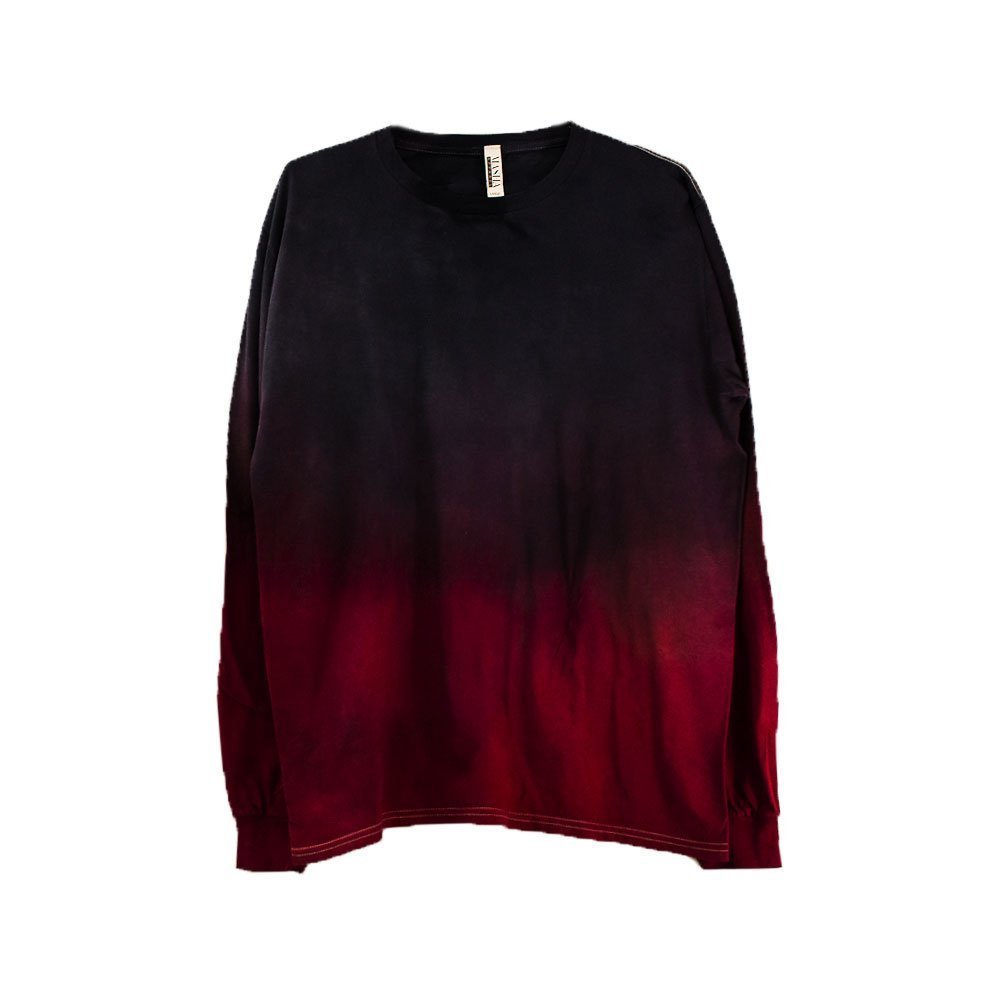 Red Dip Long Sleeve Tie Dye Shirt Unisex Burning Man Festival Plus Size Top S, M, L, XL, XXL