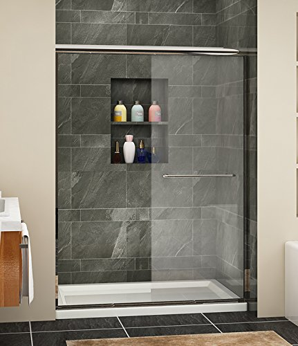 SUNNY SHOWER B020 Semi-Frameless Glass Bypass 2 Way Sliding Glass Shower Doors, 54 W x 72 H, Clear, Chrome Finish