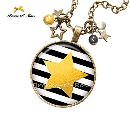 Boucles doreilles /étoiles jaunes rayures noires cadeau No/ël bronze-n-roses