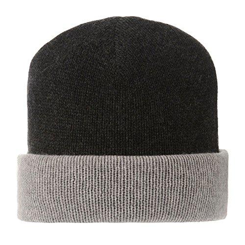 LES POULETTES Womens 100% Cashmere Hat 6 Plys Bicolor Classics - Black by LES POULETTES