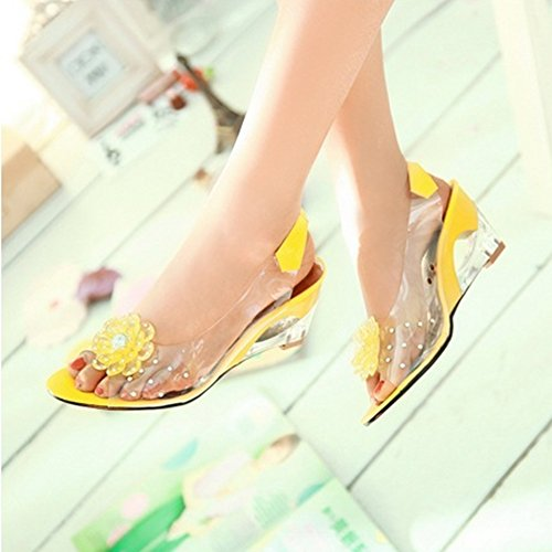 JULY Fashion Slide Sandals Womens Yellow Roman Crystal Sandals Delicate Fish Sexy Mouth Flower Wedges T Ladies qdaxwqC