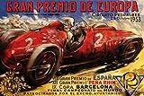 1953 GRAN PREMIO DE EUROPE PEDRALBES CIRCUIT CAR RACE STREET RACING COURSE BARCELONA SPAIN LARGE VINTAGE POSTER REPRO