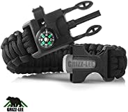 Grizz-Lee Gear Emergency Paracord Bracelets | The ULTIMATE Tactical Survival Gear| Flint Fire Starter, Whistle
