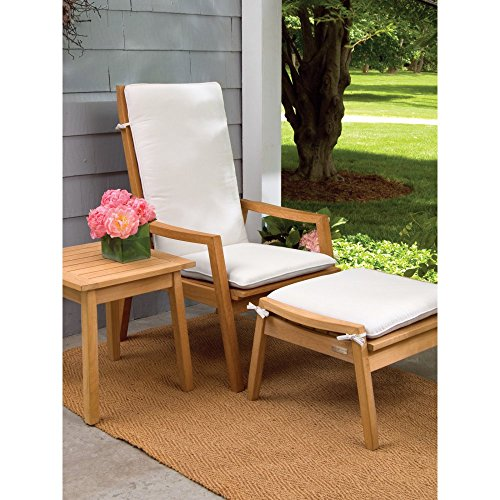 Oxford Garden 3 Piece Siena Chat Set + Cushions Armchairs, Ottoman, and Side Table, Natural - Siena Side Table