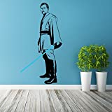 (29'' x 55'') Star Wars Vinyl Wall Decal / Obi Wan Kenobi with Blue Lightsaber Die Cut / Ready for Battle Decor Self Adhesive Sticker + Free Decal Gift!