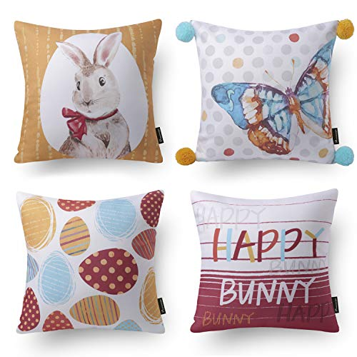 Phantoscope Set of 4 Decorative Spring Series Happy Bunny Throw Pillow Case Cushion Cover 18