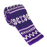Purple - Green - White Knit Necktie