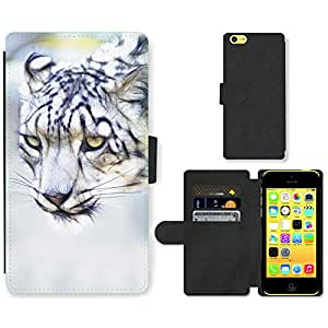 Hot Style Cell Phone Card Slot PU Leather Wallet Case // M00110412 Snow Leopard Cat Feline Animal // Apple iPhone 5C
