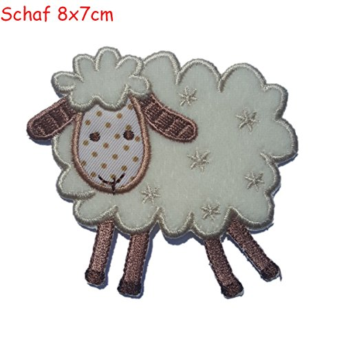 2 iron on patches Sheep 8x7 and Elephant 5x8 - embroidered fabric appliques set by TrickyBoo Design Zurich -