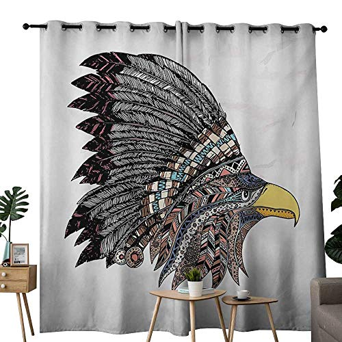 (NUOMANAN Pattern Curtains Eagle,Tribal Culture Inspired Hand Drawn Eagle in Feathered Designed Headdress Hippie Style,Multicolor,Living Room and Bedroom Multicolor Printed Curtain Sets 84