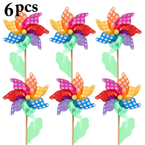 Funpa Kids Outdoor Pinwheel Colorful Decor DIY Pinwheel Decor Wind Spinner for Party Garden by Funpa