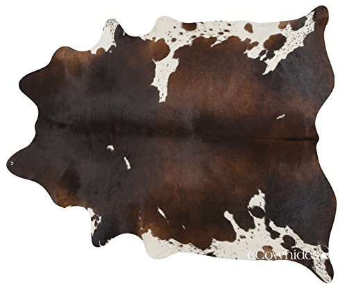 ecowhides Chocolate and White Brazilian Cowhide Area Rug, Cowskin Leather Hide for Home Living Room (XL) 7 x 6 ft
