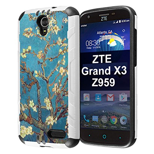 Capsule Case Compatible with ZTE Grand X3, ZTE ZMAX Grand, ZTE ZMAX Champ, ZTE ZMAX 3, AVID 916, ZTE Warp 7 [Slim Dual Layer Combat Case White and Black] - (Almond Branches in Bloom)