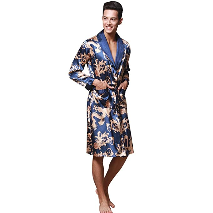 WanYangg Albornoz Kimonos Pijama para Hombre Largo Camisón Robe Bata Ropa De Dormir Satín Bata De Baño Dragón De Impresión Seda De Imitación: Amazon.es: ...