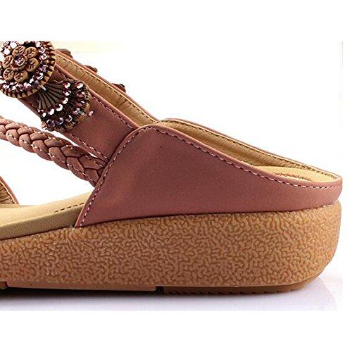 01 Y Opcional Tacón Femeninas Verano 02 Casual De Sandalias Zapatillas Moda Pendiente Amazing Mujer Zapatos Chanclas Playa Color Talón Mujeres Plano tamaño Coreanos wUE7xpxqM1