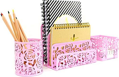 Blu Monaco Pink Desk Organizer for Women - 3 Piece Desk Accessories Set - Letter-Mail Organizer, Sticky Note Holder, Pen Cup - Pink Rose Pattern