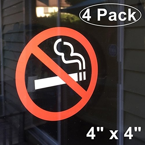 No Smoking Logo - Front Self Adhesive Clear Vinyl Outdoor/Indoor (4 Pack) 4