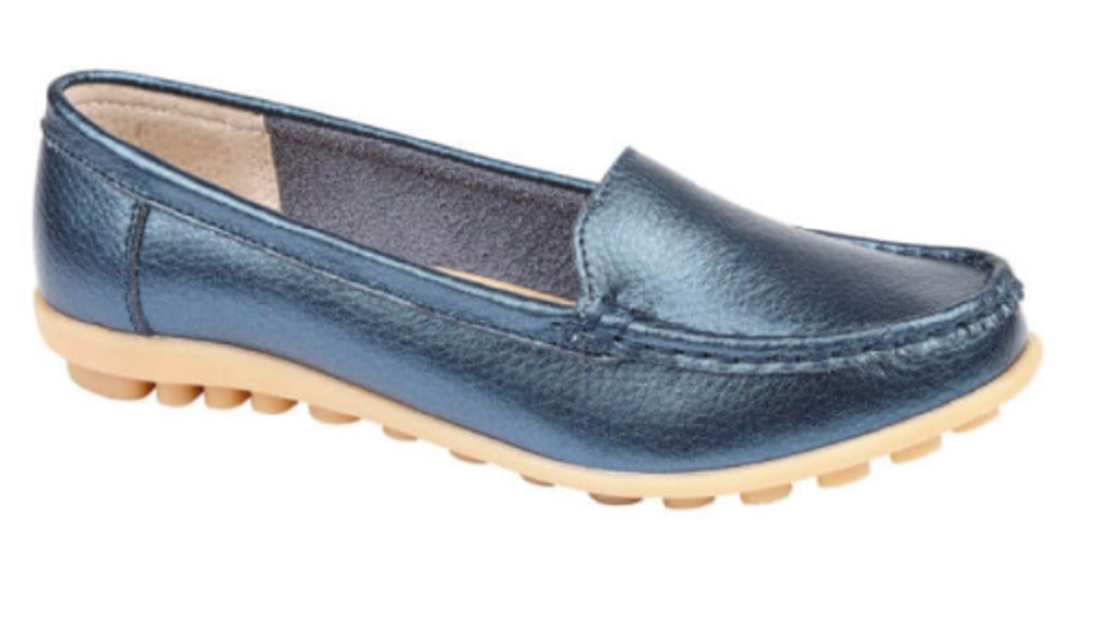 Jo and Joe, Damen-Slipper aus Leder, Loafer in weiß, gold, rosé, blau, Größen 35-42, Blau - blau - peacock blue - Größe: 40