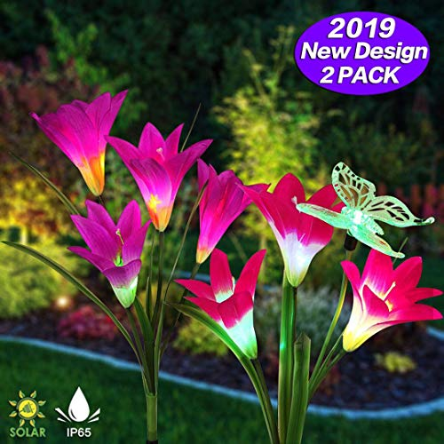 NAIYO Outdoor Solar Garden Stake Lights, 2 Pack Solar Flower Lights with 7 Lily Flower and 1 Butterfly, Multi-Color Changing LED Solar Landscape Decorative Lights for Garden, Patio, Backyard