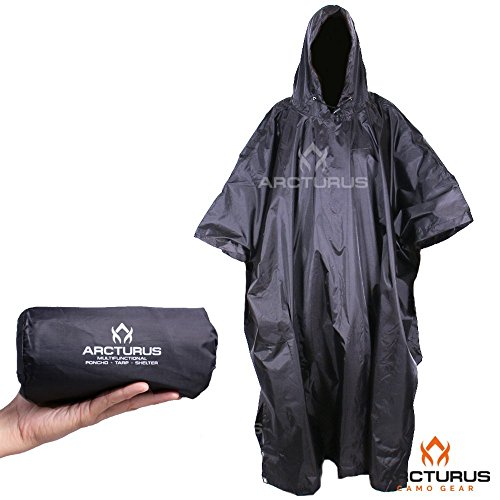 Arcturus Rain Poncho: Lightweight Ripstop Nylon Poncho with Adjustable Hood. Multipurpose, Large, Waterproof Design - Makes a Great Tarp, Backpacking Ground Cloth & Emergency Shelter (Black) from Arcturus
