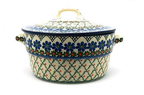 Polish Pottery Baker - Round Covered Casserole - Primrose Polish Pottery Round Covered Dish