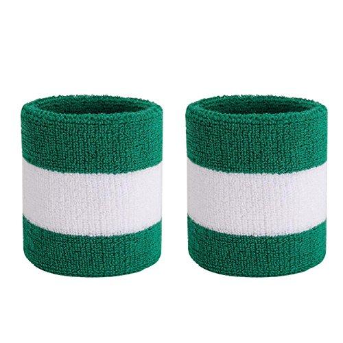 OnUpgo Headband Sports Sweatbands Wristbands Terry Cloth Striped Head Band/Wrist Band Set Athletic Exercise Basketball Headbands Moisture Wicking Sweat Absorbing Sweat Band ()