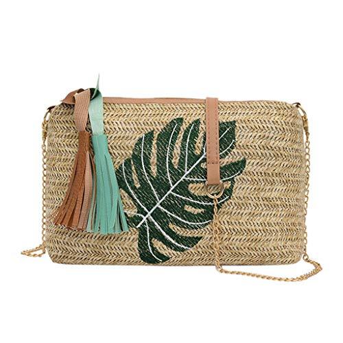 SMALLE ◕‿◕ Rattan Bags for Women, Women Straw Pompom Shoulder Bag Summer Handmade Wicker Woven Bags Boho Bag Green