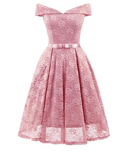 Shoulder Dress Tunic Pink Bow Lace Coolred Cold Women Waist Knot Empire qIwIzO