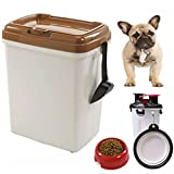 MineDecor 44lb Dog Food Storage Bins With Rolling Wheels Feed Scoop Large Airtight Pet Food Containers Combo For Cats Birds Portable 2 In 1 Travel Dog Mug