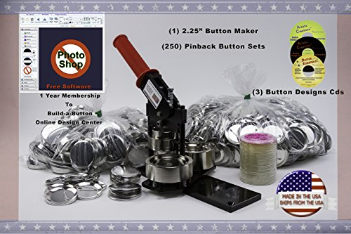 2.25' Button Maker Machine + 250 Complete Pinback Button Parts + Cds + Software From American Button Machines