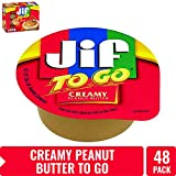 Jif To Go Creamy Peanut Butter, 1.5 oz., 48 Total Cups - Convenient On the Go Pack, 7g of Protein per Serving, Smooth, Creamy Texture - No Stir Natural Peanut Butter