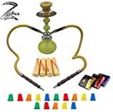 Zebra Smoke Series: 11'' 2 Hose Pumpkin Echo (X1) Hookah Complete Set Combo KIT w/ Instant Charcoal (Like Three Kings Charcoal), Zebra smoke Joker series(like Blue Mist), and Hookah Mouth Tips (YELLOW)