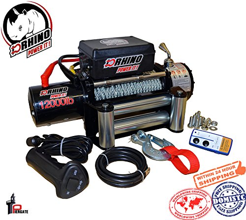 D-Rhino Vehicle Recover Electric Winch Kit 12000 lb Load Capacity Remote 12V ATV Towing Trailer Truck SUV Heavy Duty