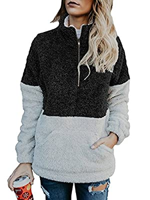 BTFBM Women Long Sleeve Zipper Sherpa Sweatshirt Soft Fleece Pullover Outwear Coat with Pockets