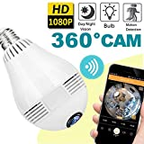 2018 Upgrade Bulb WiFi IP Camera Wireless 360 Panoramic 1080P HD Fisheye Spy Hidden Cameras for Home Security System Baby Nanny Pet Indoor with Night Vision Motion Detection Alarm For Sale