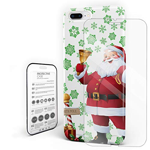Compatible with iPhone 7 Plus Case and iPhone 8 Plus Case, Hard PC Back Phone Case with Tempered Glass Screen Protector North Pole Santa Claus and Snowflake Shockproof Protective -