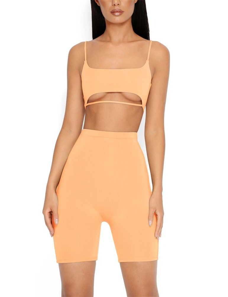 Ivay Womens Strap Cut Out Tracksuit 2 Piece Outfits Sexy Crop Tops and Skinny Long Pants Jumpsuit (Orange, Small)