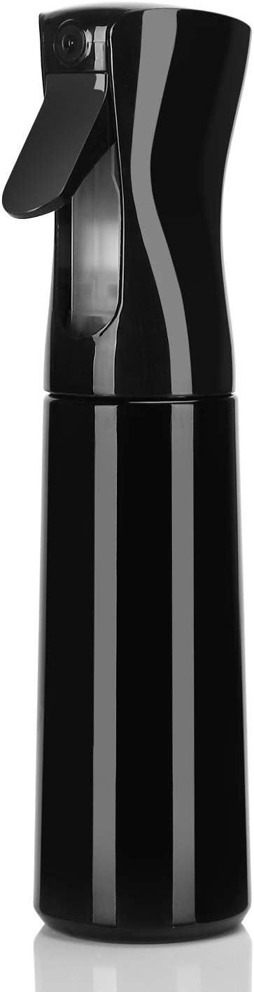 Botella Pulverizador Agua Peluqueria Fina Niebla Pulverizador Continuo Pulverizador Recargable Vacío spray Rizos pulverizar para Pelo Cara Plantas 300ML Negro