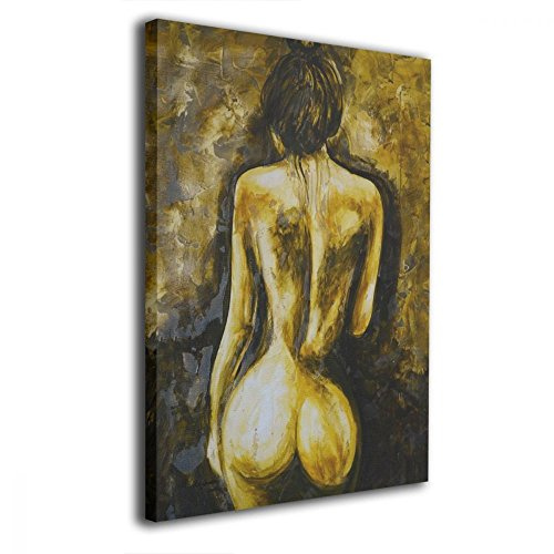 rt Prints Sexy Brown Naked Nude Woman Back Body Butt Booty Picture Paintings Modern Decorative Artwork For Living Room Wall Decor And Home Decor Framed Ready To Hang 16x20inch ()