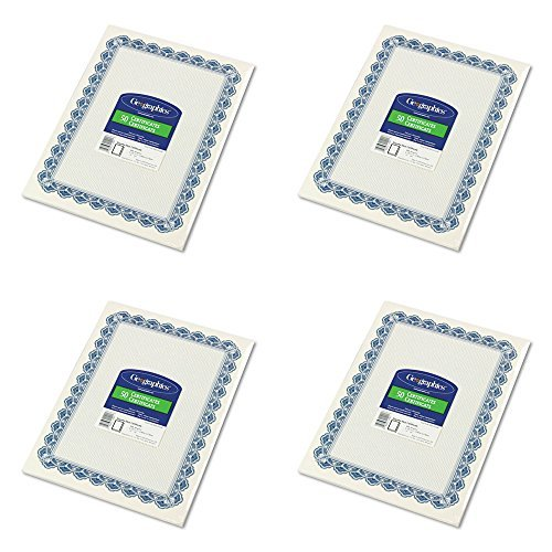 Geographics Parchment Paper Certificates, 8.5 x 11 Inches, Blue Royalty Border, 50 per Pack (22901), 4 Packs by Geographics