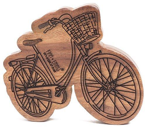 Finn + Emma | Wood Rattle Teether | Baby Girl | Holland Bike