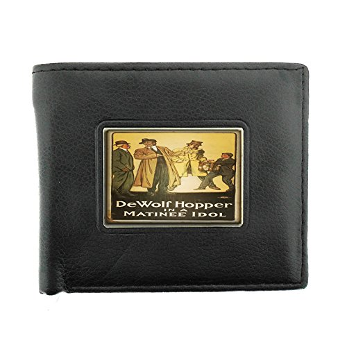Black Bifold Leather Material Wallet D-128 Dewolf Hopper In A Matinee Idol ()
